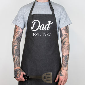 Personalised Denim Dad Est. Father's Day Apron