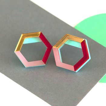 Laser Cut Geometric Statement Earrings