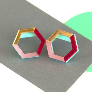 Laser Cut Geometric Statement Earrings - earrings