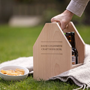 Six Bottle Personalised Beer Caddy - living room