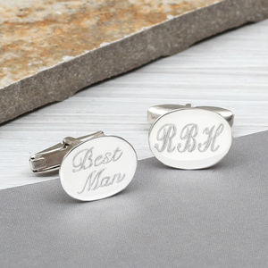Personalised Sterling Silver Oval Cufflinks