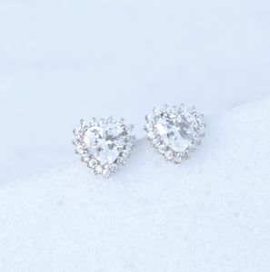 9ct White Gold Heart Cluster Earrings - wedding jewellery
