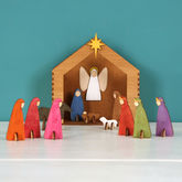 Wooden Handpainted Christmas Nativity Set - christmas decorations