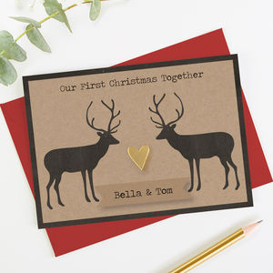 1st Christmas Together Gold Heart Stag Christmas Card