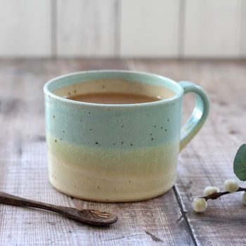 Handmade Duck Egg And Sand Mug
