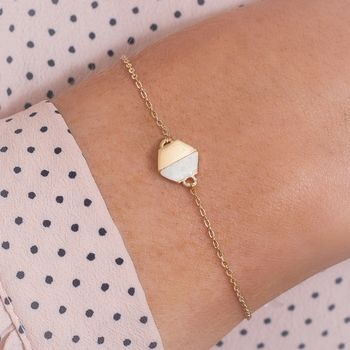 Rosie Personalised Marble Stone Hexagon Bracelet