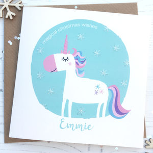 Personalised Sparkly Unicorn Christmas Card
