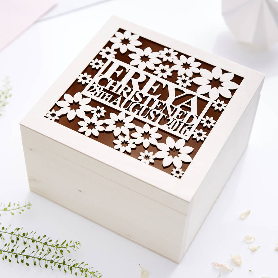 Floral Personalised Christening Keepsake Box