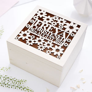 Floral Personalised Christening Keepsake Box - storage & organisers