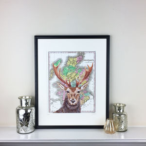 Stag And Map Of Scotland Print - limited edition art