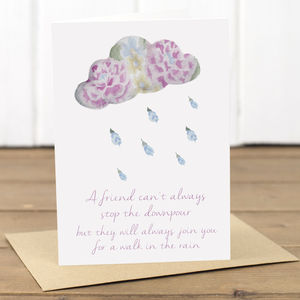 Sympathy 'Stop The Downpour' Friendship Card - sympathy & sorry cards