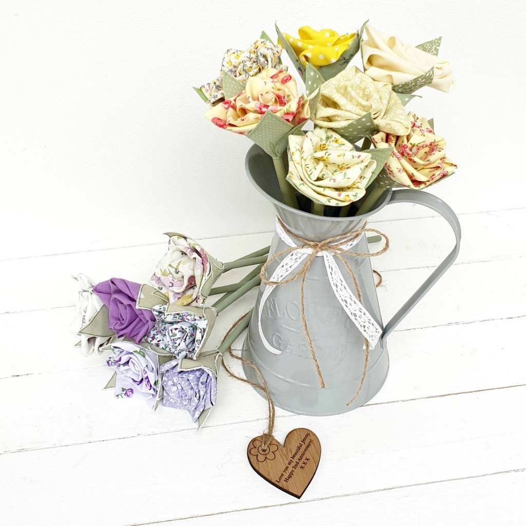 Cotton 2nd Wedding Anniversary Roses In Jug