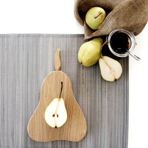 Wooden Pear Chopping/Serving Orchard Board - cheese boards & knives