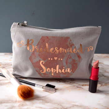 Personalised Marble Bridesmaid Make Up Bag