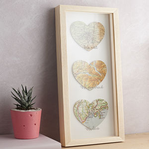 Three Personalised Map Hearts Etched Wedding Gift - mixed media & collage