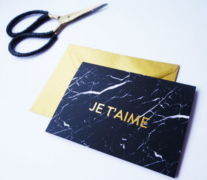 Luxury Black Marble And Gold Foil Valentine's Card