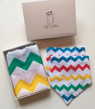 Rainbow Chevron Swaddle And Grey Cloud Bib Gift Set