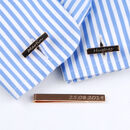 Personalised Rose Gold Tie Slide And Bar Cufflinks Set