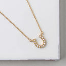 Gold Plated Crystal Horseshoe Necklace