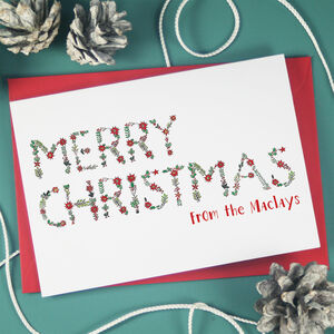 Personalised Merry Christmas Holly Berry Cards