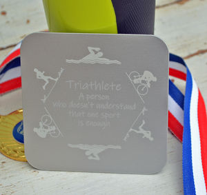 Personalised Etched Triathlon Coaster