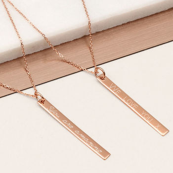 Personalised Rose Gold Bar Necklace