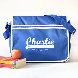Personalised Blue Retro Messenger Bag - holdalls & weekend bags