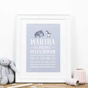 Personalised Birth Date And Christening Print - children's pictures & paintings