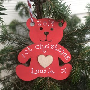 1st Christmas Teddy Personalised Decoration