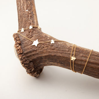 Personalised Gold Long Star Charm Necklace