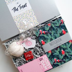 Treat Gift Box. Bathbomb And Notebook