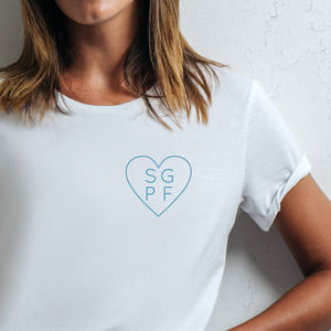 Personalised Heart Initials Organic Cotton T Shirt