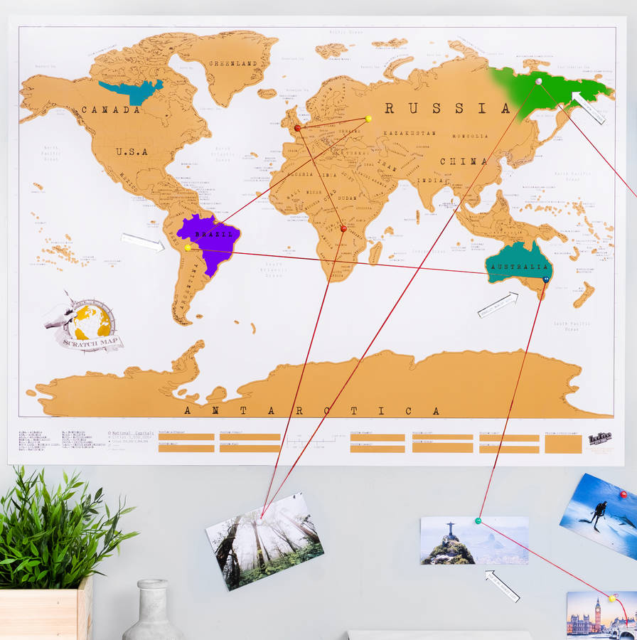 scratch off push pin world map bundle