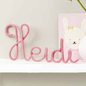 Personalised Pink Sign Knitted And Wire Name