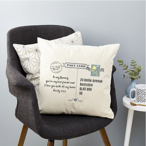 Mother's Day Post Card Personalised Cushion - cushions