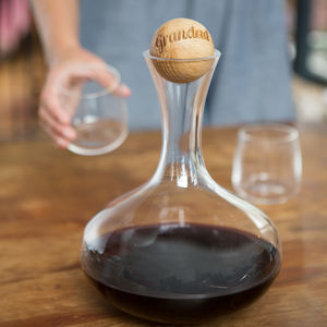 Wine Carafe With Personalised Oak Stopper - 50th birthday gifts