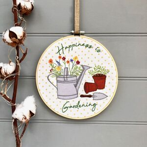 Gardening Embroidered Hoop Hanger