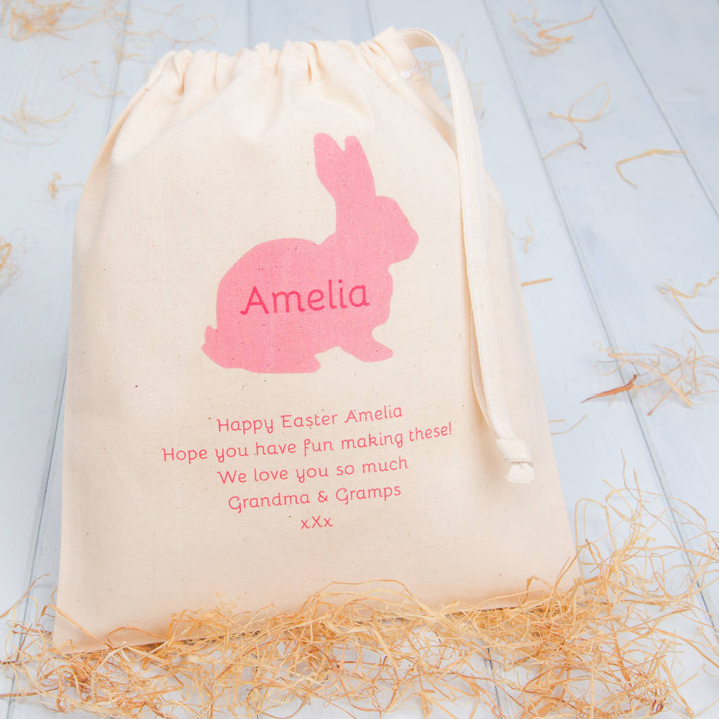 Personalised bunny easter gift bags by british and bespoke personalised bunny easter gift bags negle Gallery