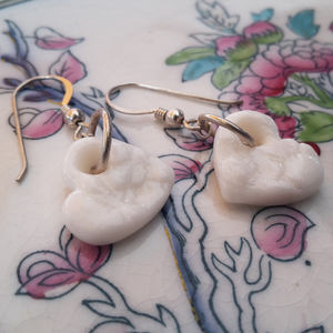 White Porcelain Heart Earrings - earrings