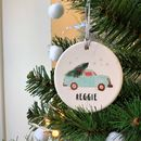 Ceramic Decoration With Retro Car And Christmas Tree