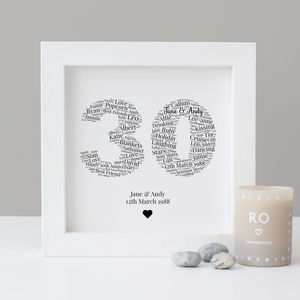 Personalised 30th Anniversary Gift - personalised sale