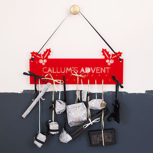 Personalised Holly Christmas Advent Calendar Hanger