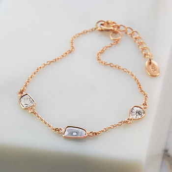 Diamond Birthstone Gift Jewellery Rose Gold Bracelet