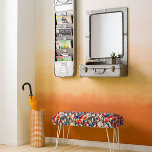 Steel Suitcase Mirror With Shelf