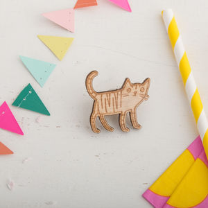 Little Wooden Cat Pin - pins & brooches
