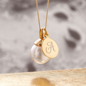 Pearl Necklace In Gold With Monogram Charm - wedding jewellery