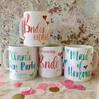 Personalised Contemporary Wedding Party 'Thank You' Mug