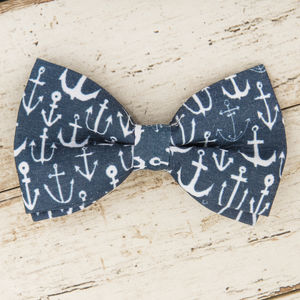 The Salcombe Blue And White Anchor Print Dog Bow