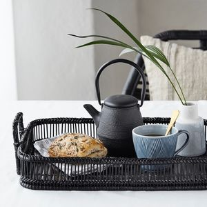 Black Bamboo Tray Set