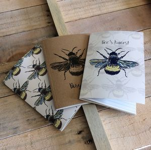 Set Of Three Pocket Bee Notebooks
